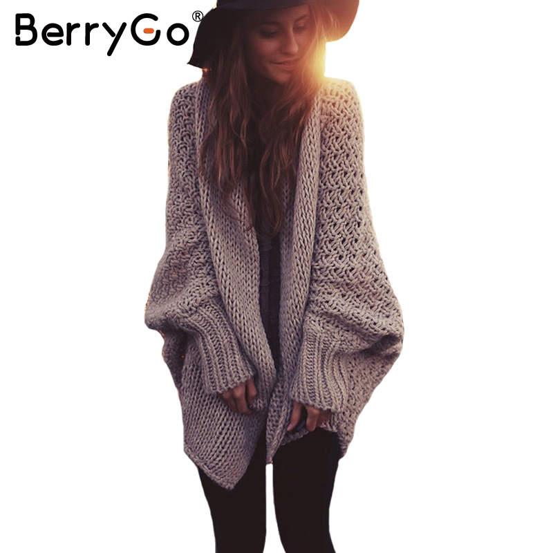 BerryGo batwing sleeve knitted cardigan sweaters women ...
