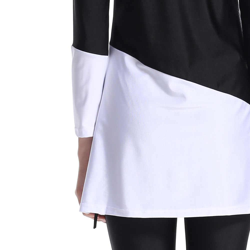 Plus Ukuran Baju Renang Islam Baju Renang Wanita Hitam dan Putih Dicampur Warna Wanita Pakaian Renang Baju Renang Bikini untuk Wanita Muslim S-4XL