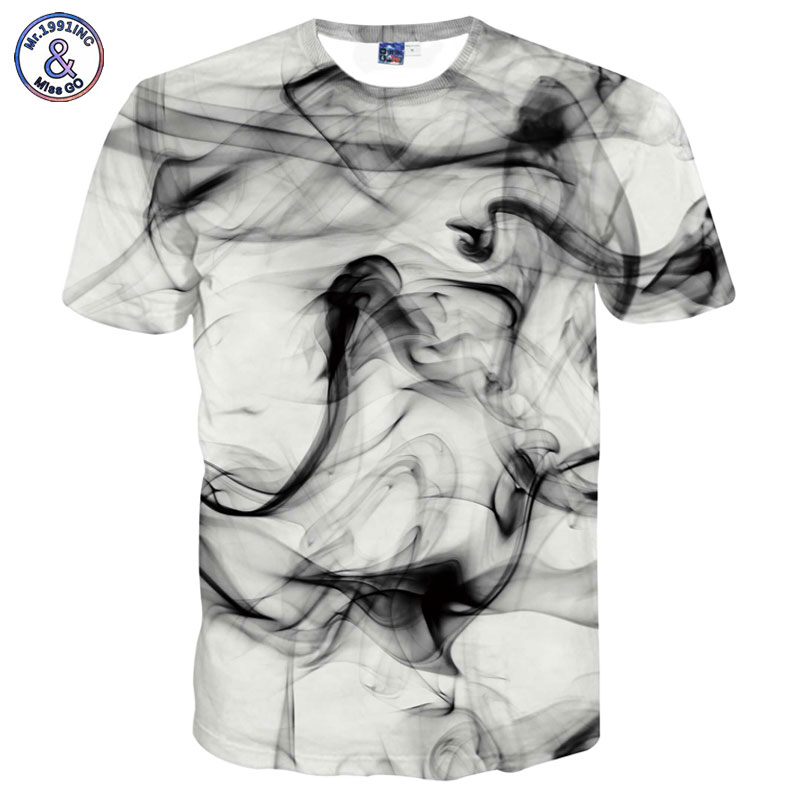 Mr.1991INC New Fashion Men/Women 3d T-shirts Print Watercolor Dreamy Smoke Lines Summer Cool Street Hip Hop Tees Shirts T shirt