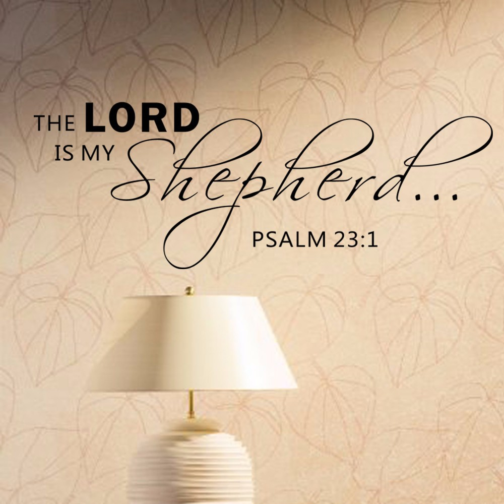 The Lord is my shepherd - Psalm 23:1 Religious Decorations Wall Art Sayings Vinyl Letters Stickers Decals 147.32cm x 55.88cm