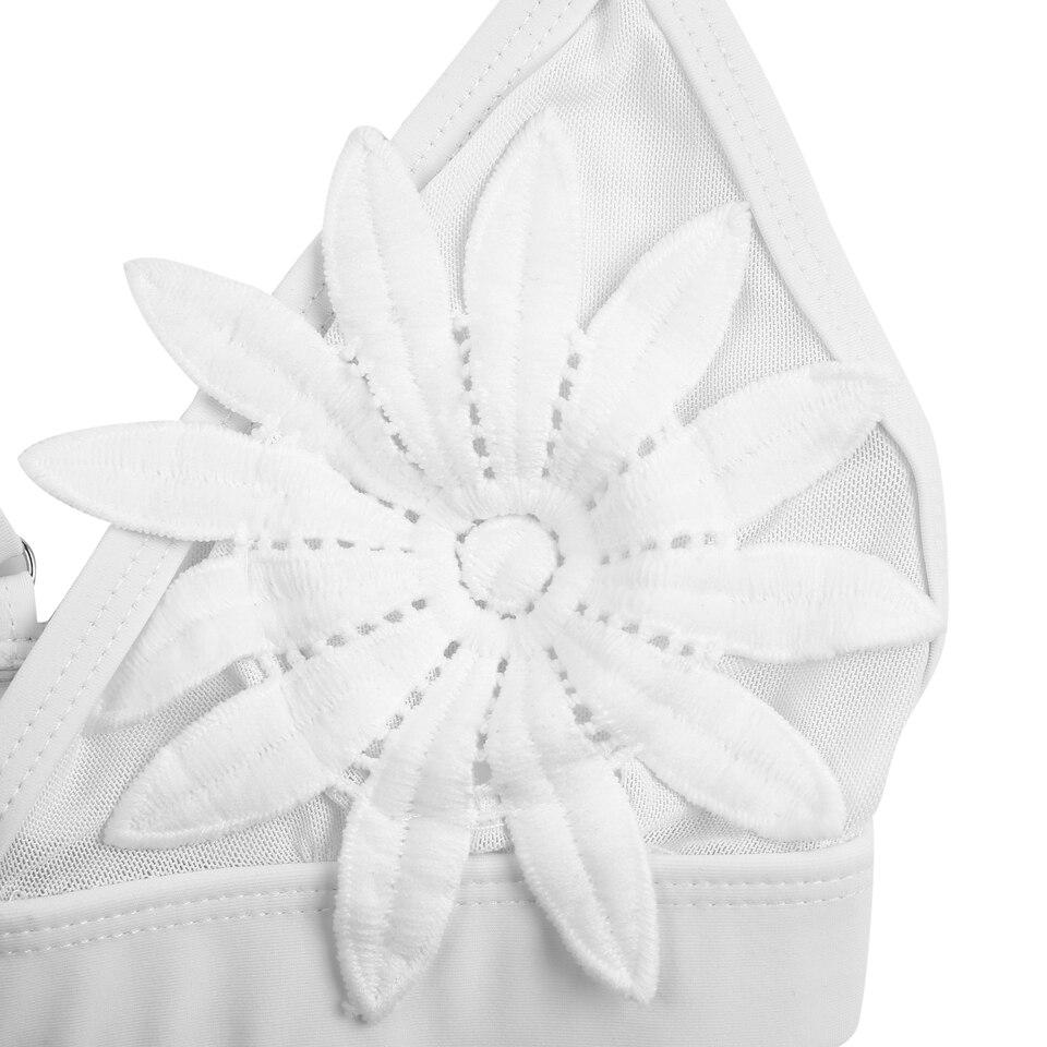 Bandea 2018 Sexy Bikini Set Mesh Cut Out Swimwear White Flower