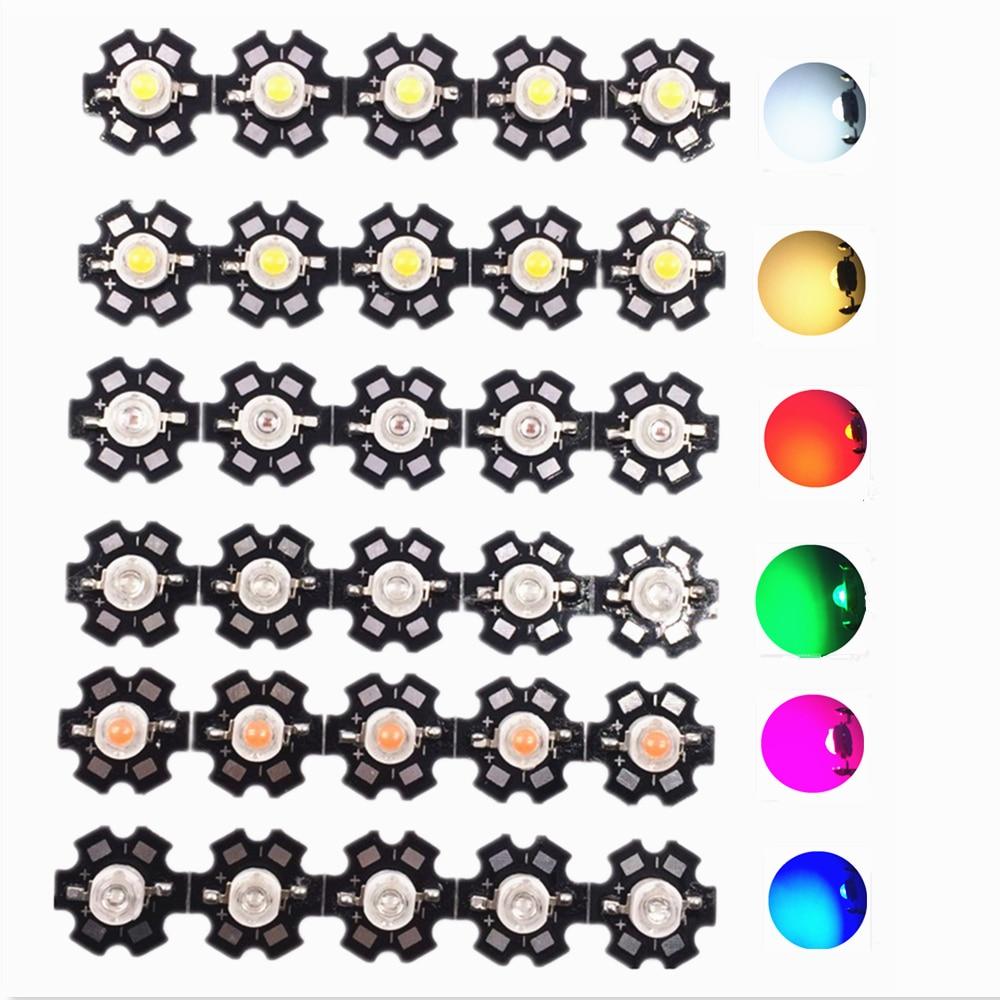 100pcs 1W 3W High Power light emitter, Red, Green, Blue, white, Warm White, Cool White,Full Spectrum. LED with 20mm Star PCB