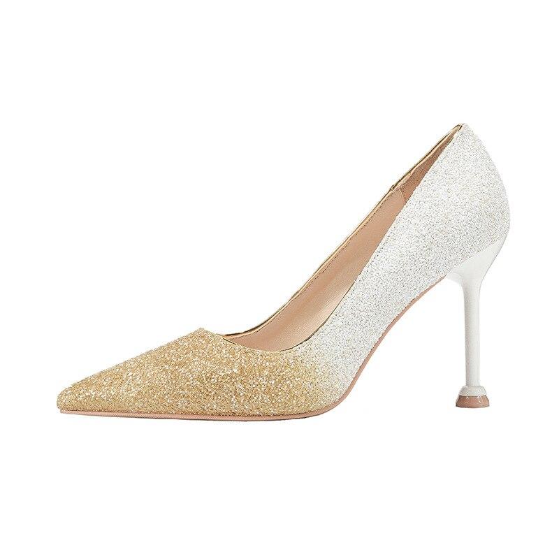 Luxe Couleur Gradient Chaussures white Haute Gold 10cm red Silver Talons Pompes Glitter Gold Stiletto blue Bling Partie 10cm Dames De Mariage black Bout Pointu Femmes 10cm Sexy Mariée xE8q4Pw5X4