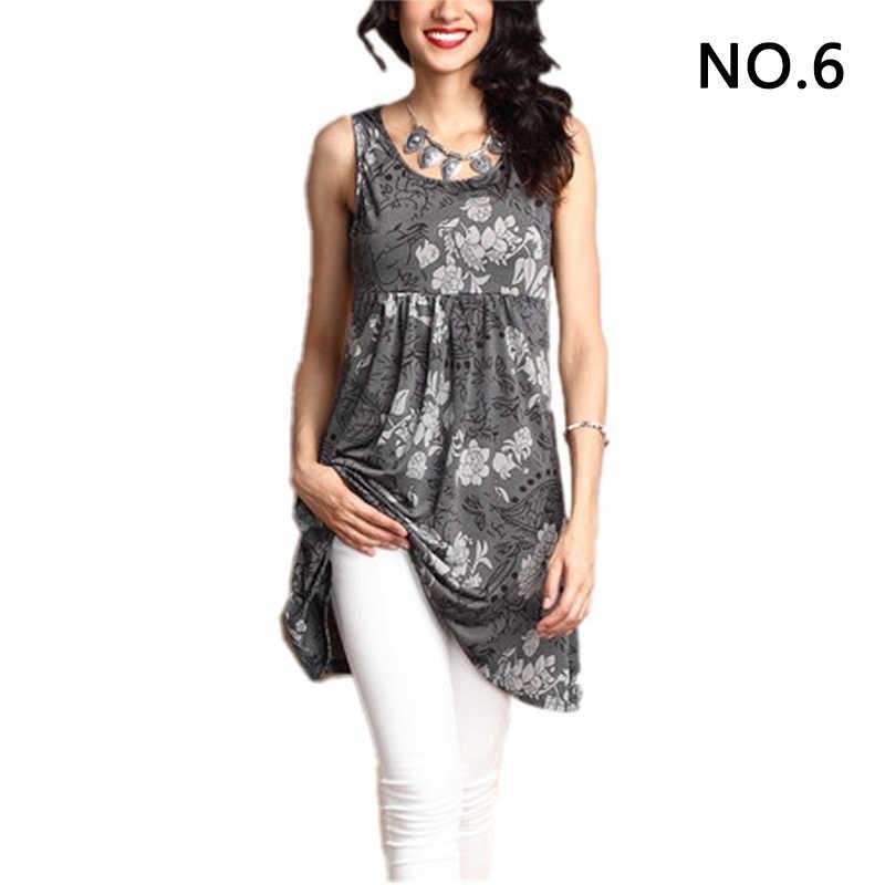 ดอกไม้พิมพ์ O คอแฟชั่นผู้หญิงเสื้อแขนกุด Tops เสื้อฤดูร้อน Ruffled Casual Plus ขนาด 5XL เสื้อกั๊กเสื้อ Camiseta 6Q0912