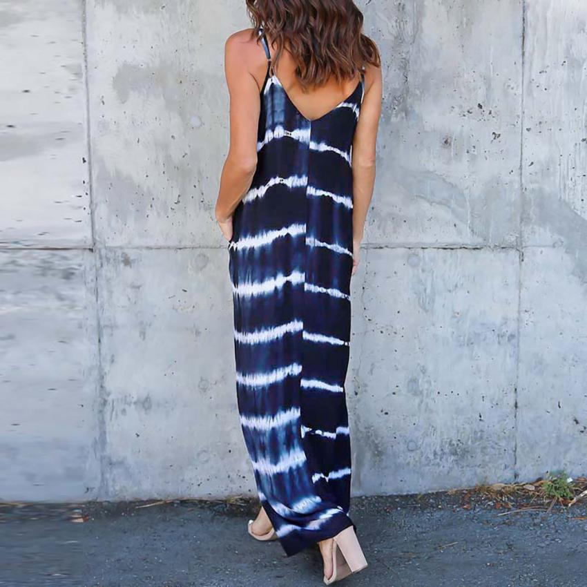 Feitong Women Summer Dress Striped Wave Printed Long Maxi Dress Sexy Strappy Deep V Low Cut Beach Dress vestidos femininos 2018 1