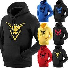 Plus Size M to 2xl Pokemon Go Team Valor Mystic Instinct Pokeball Long Sleeve Hoodies man women Unisex Sweatshirts ash ketchum