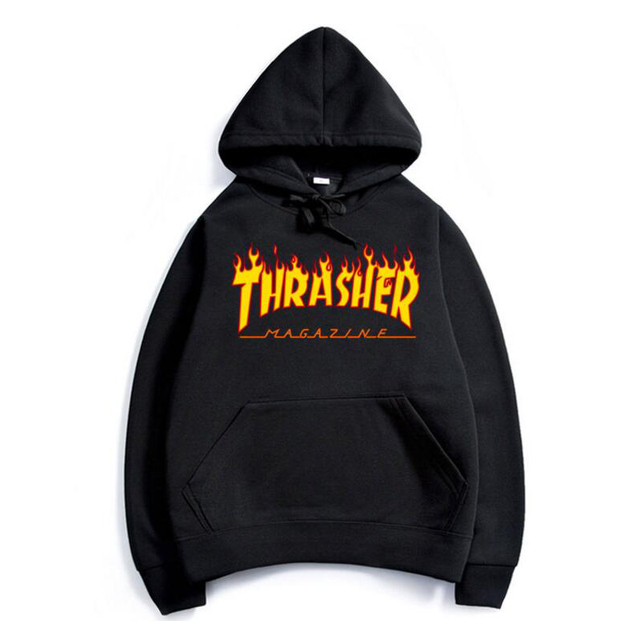 2017 thrasher Hoodies men Hip Hop Flame trasher Sportswear hoody Sweatshirt Solid Skateboard Pullover Hoodie Man brand Clothing