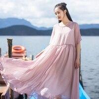 IRINAW693 new arrival 2018 women summer beach style vintage short sleeve long see through flowing chiffon dress
