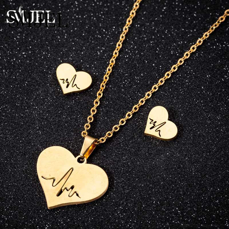 SMJEL Stainless Steel Heartbeat Necklaces for Women ECG Love Heart Earings Gold Chain Jewelry Doctor Accessories bijoux Femme