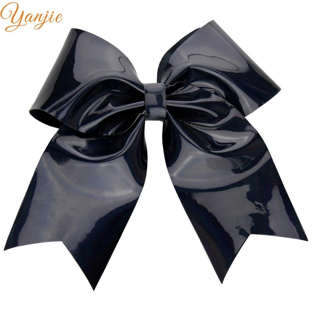 Black bow hair accessories - 1pcs Retail Kids Girl 6 Pu Leather Shinning Hair Bow Hair Band Infantile Hair Clips Cute Girl Haar Accessories 2016 Headwear