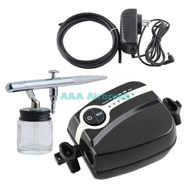 ФОТО Airbrush Mini Air Compressor Kit 0.35mm Single Action for Makeup Hobby Temporary Tattoo 5 Speed Adjustable