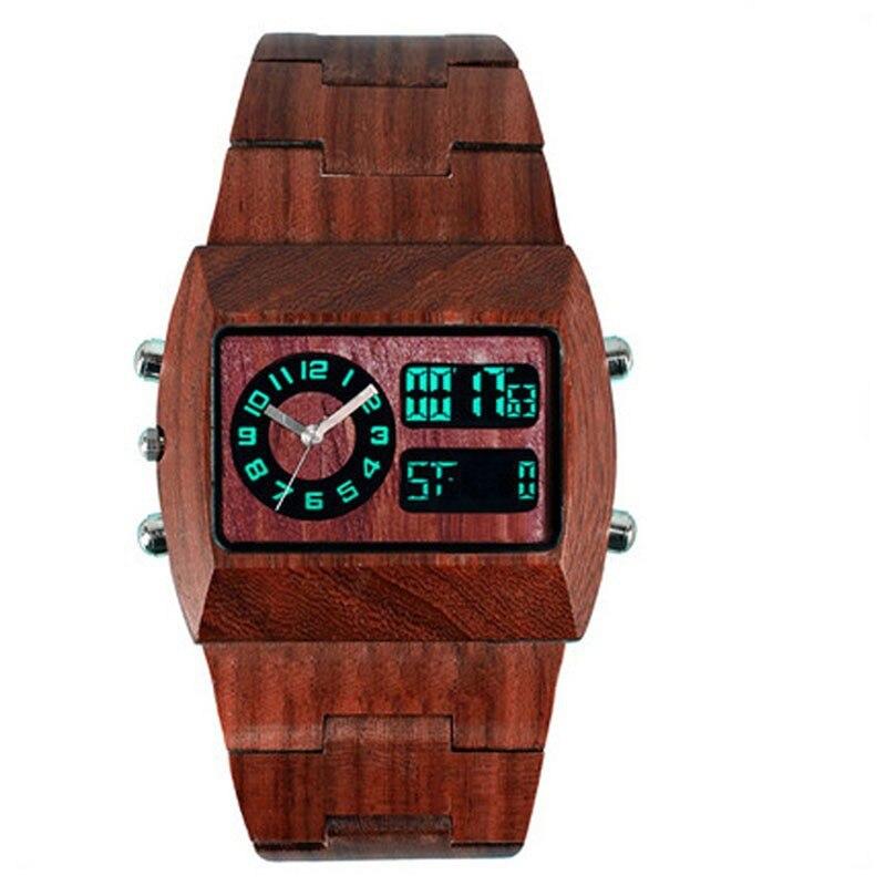 Mode en bois Montre Hommes Marque De Luxe Antique Bois Montres Date Quartz Analogique Numérique LED Montre-Bracelet Cadeau mens reloje Relogio