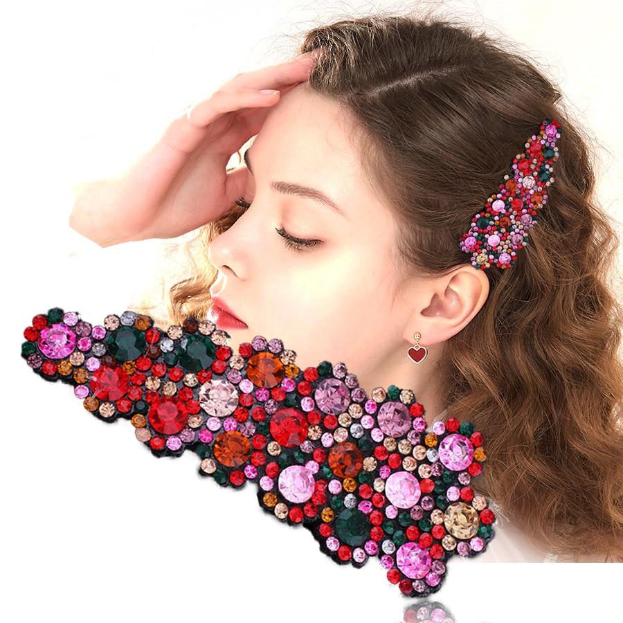 Haimeikang Fashion 1PC Crystal Hairpins Big Hair Clip For Women Girls Rhinestones Bobby Clips Pins Barrette Hair Accessories