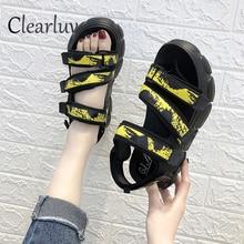 Summer Roman sandals flat bottom cake bottom thick non-slip women's shoes color open toe wild sandals women C1257 flat toe non slip roman beach sandals