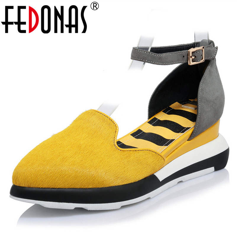 FEDONAS Ankle Strap Women Horse Hairs Pumps Wedges Heels Mary Jane Pointed Toe High Fashion Wedding Party Shoes Woman Pumps цена
