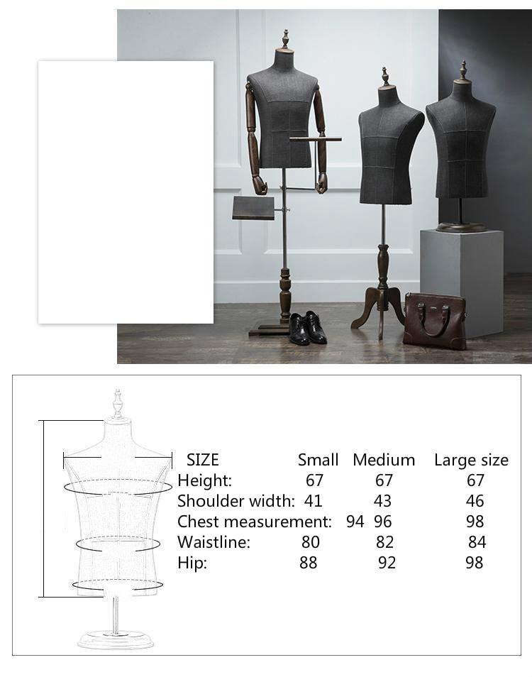 De gama alta negro medio cuerpo paño modelo madera mano hombres ropa maniquí tienda pasarela modelo elevación accesorios traje estante de exhibición - 4