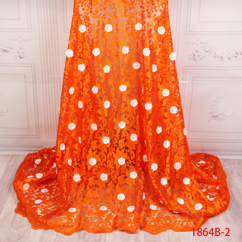 Arts,crafts & Sewing Intelligent Latest Orange African Beautiful Tulle Lace Fabric 3d White Applique Lace For Wedding Bridal Dress Tulle Lace Fabric Xz1864b-2