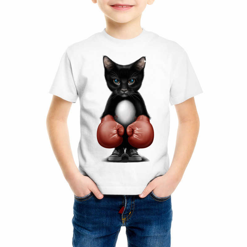 Kid's MMA Angry Cat T-shirt Boy Girls Baby Funny Animal T Shirt Hot Sale Lovely Cat Print Cartoon 3D Tops Tshirt Y7-16