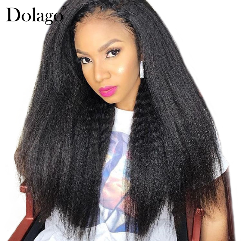 Kinky Straight Lace Front Human Hair Wigs For Women 250% Density Brazilian Lace Frontal Wig Black Pre Plucked 13x4 Dolago Remy