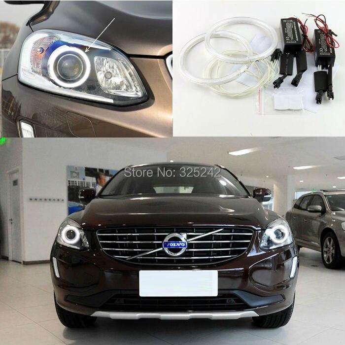 ФОТО For Volvo XC60 2014 2015 XENON HEADLIGHT Excellent angel eyes Ultra bright headlight illumination CCFL Angel Eyes kit Halo Ring