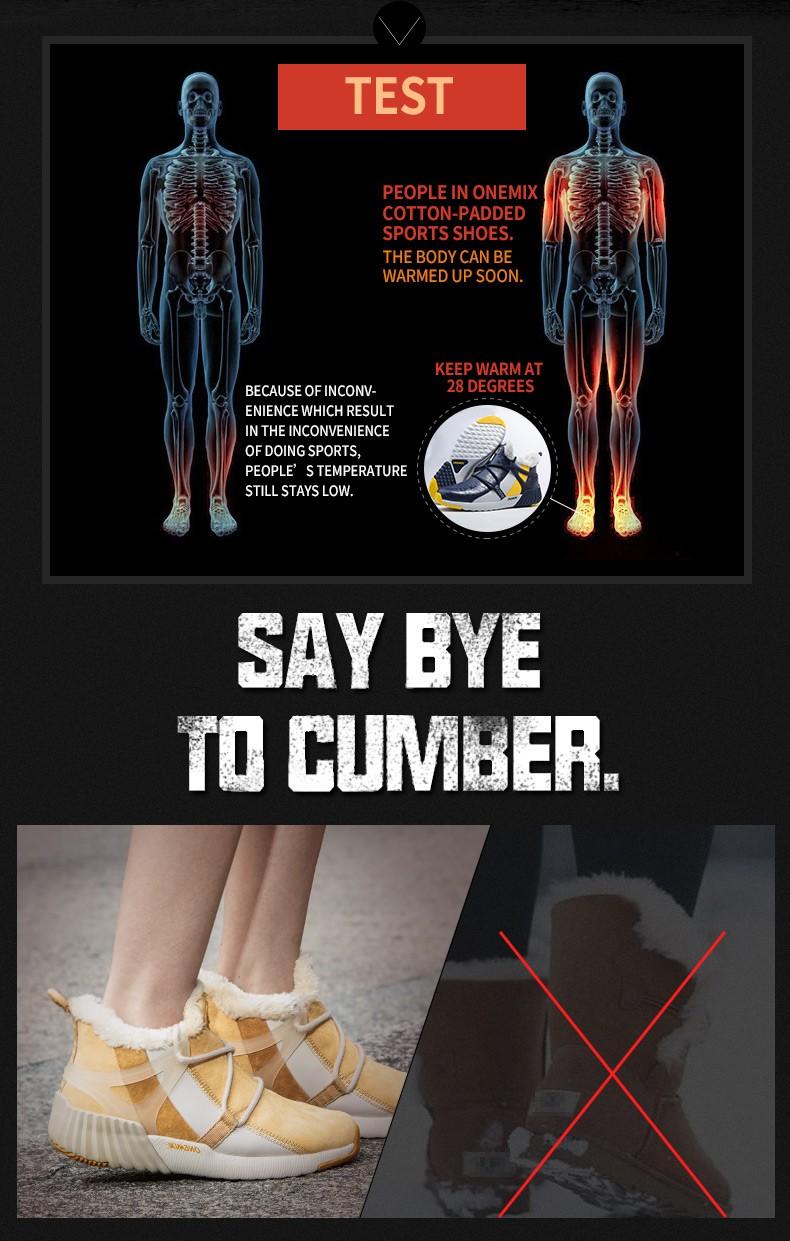 ONEMIX Winter Boots Men & Women Warm Wool Sneakers Outdoors Neutral Sports Sneakers Comfort Running Shoes Sale Size 36-45 10