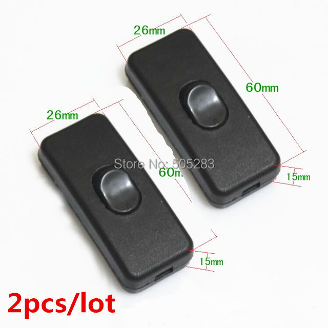 2pcs On line ON/OFF Switch Lamp Light Switch Button Mid-way Rocker Switch Mains Power Switch 2A 250V For 2/3 Core Cable HY678*2 20113 diy lamp line on off switch black 2 pcs