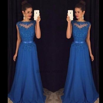 Vestidos de Formatura Renda Royal Blue Lace Prom Dresses Long 2017 Beads Cap Sleeve Gala Formal Evening Party Gowns Abendkleider