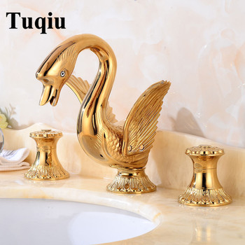 New ArrivalsTop Quality Deck-mounted Widespread Golden 3 Pcs Bathroom Swan Basin Faucet Lavatory Basin Sink Mixer Luxury Style фото