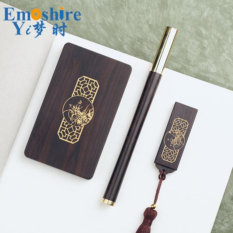 Stylo à bille et porte-carte et clés USB ensemble stylo à bille en bois créatif porte-carte cadeau de bureau d'affaires P389