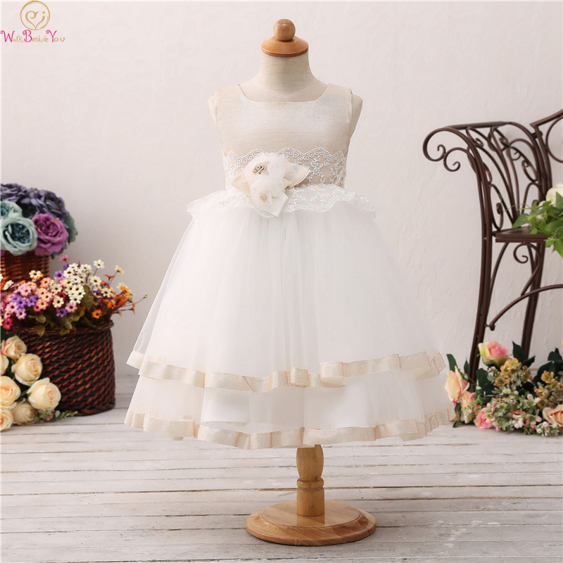 Ball Gown   Flower     Girls     Dresses     Girls   Wedding Birthday Party First Communion vestido Robe Gowns Fluffy Pageant Formal   Dress   2019