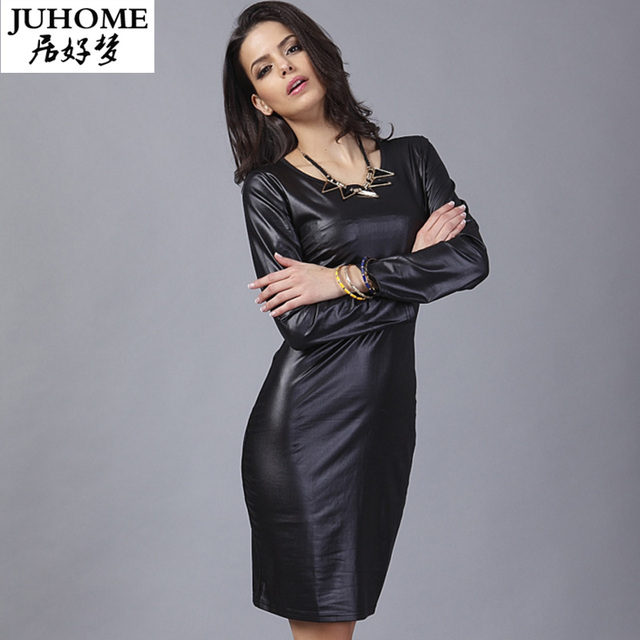 6a49c4a0a94e5a 2018 herbst kleid casual schwarz sexy pu leder kleid clubwear partei  langarm kleid damen mode Robe