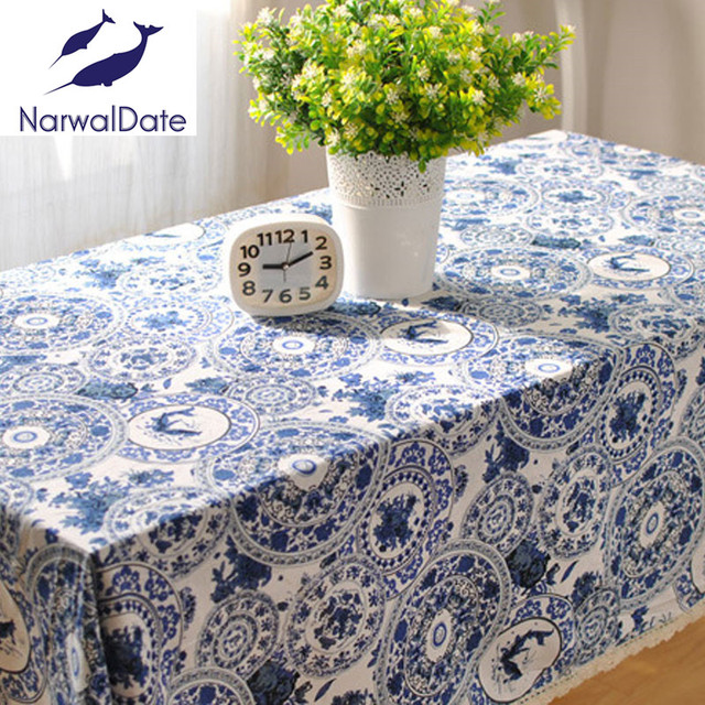 Chinese Blue And White Porcelain Rectangular Printing Tablecloth Japanese  Orchid Printed Cotton And Linen Tablecloths Tablecloth