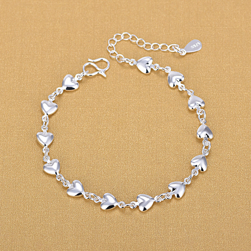925 Silver Heart Bracelets 925 Fashion Charm Bracelets Fine Fashion Bracelet Jewelry For Woman Gift
