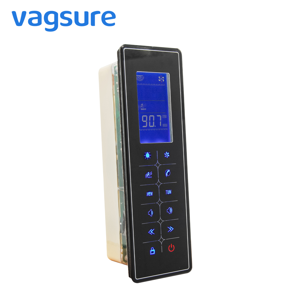 Vagsure 1Pcs Touch Screen LCD Dispaly Shower Control Panel Controller FM radio Freehand Tel Speaker Vent Fan Lamp Accessories black lcd display shower cabinet radio control set shower led light speaker vent fan control panel