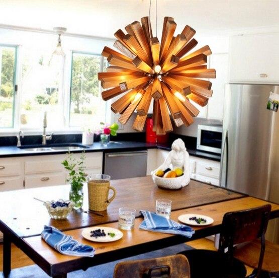 Nordic Loft Style Wood Art Droplight Modern LED Pendant Light Fixtures For Living Dining Room Bar