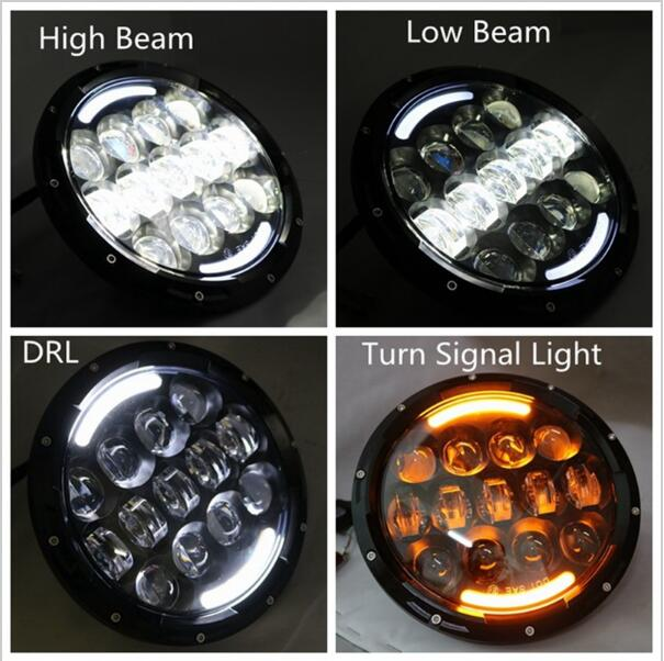 ФОТО Promotion ! 1pair 7inch H4 LED Headlight 105W led head lamp for Jeeps Car Motor High/Low Beam with amber angel eyes