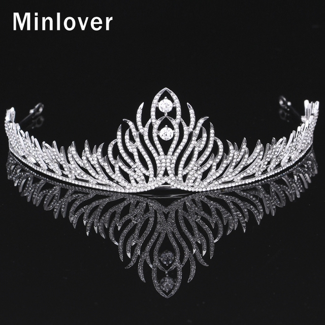 Minlover Cubic Zirconia Bridal Tiaras Crown for Women Animal Feather Silver Color Crystal 2016 New Fashion Hair Jewelry MHG074