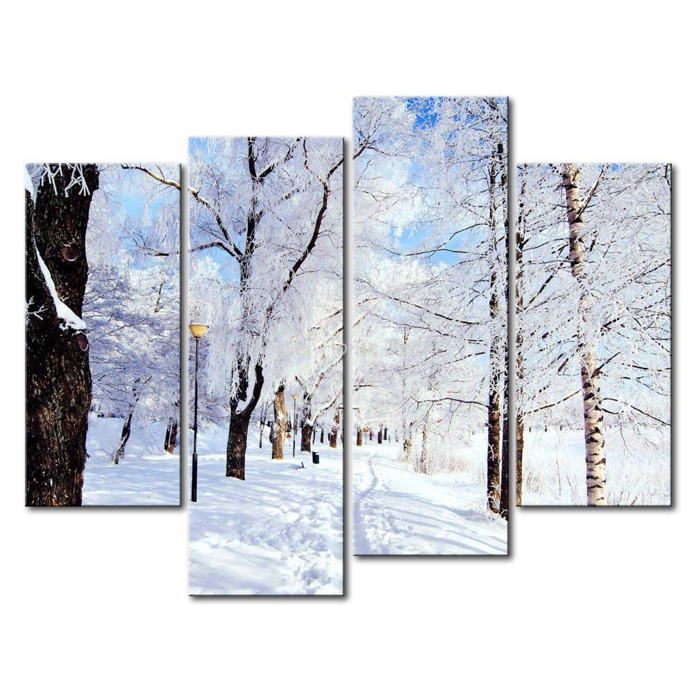 Winter Wall Art 3 piece wall art painting winter in the park a road cover thick