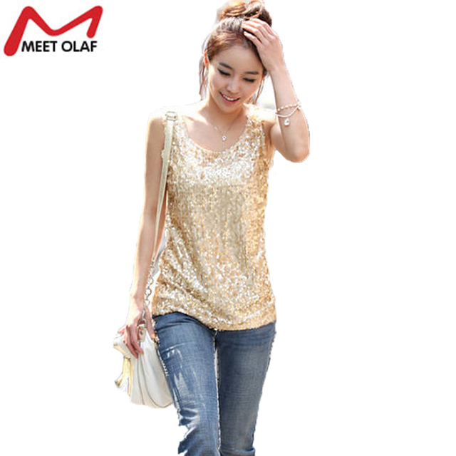 8d3ce295b00 New Women Tops Summer Plus Size Thin Slim Gold Sequined Blingbling Vest  Bottoming Shirt Ladies Sleeveless Tee Loose Tops YL346