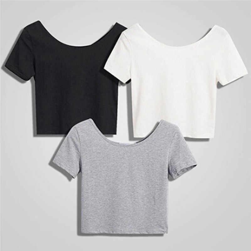 Yaz seksi kırpma üstleri kadın kısa kollu Tees zarif düz temel tişörtleri kadın rahat yuvarlak boyun Tee gömlek Femme
