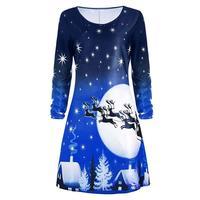 2017 Autumn Winter Christmas Dress Women Floral Print O Neck Tunic Causal Shirt Vestidos Xmas Snow