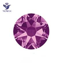 YANRUO #2088HF SS20 Amethyst 1440Pcs 8 Big Small Strass Flatback Hot Fix Iron On Crystal Glass Rhinestone