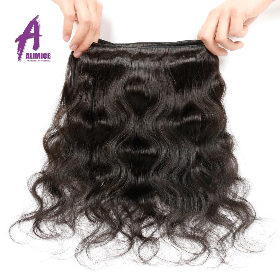 Alimice Hair Brazīlijas ķermeņa viļņi 1 gab 100% cilvēka matu - Cilvēka mati (melnā krāsā) - Foto 5