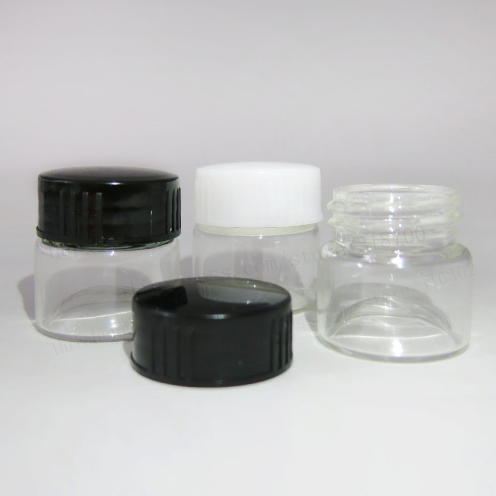 Купить с кэшбэком 100 x 5g Portable Thin glass cream jar with plastic lids 5ml Mini glass cosmetic packaging containers glass vial Make-up Pot