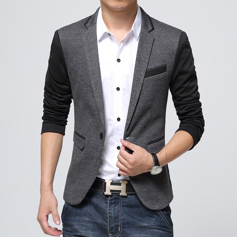 New Slim Fit Casual jacket Cotton Men Blazer Jacket Single Button ...
