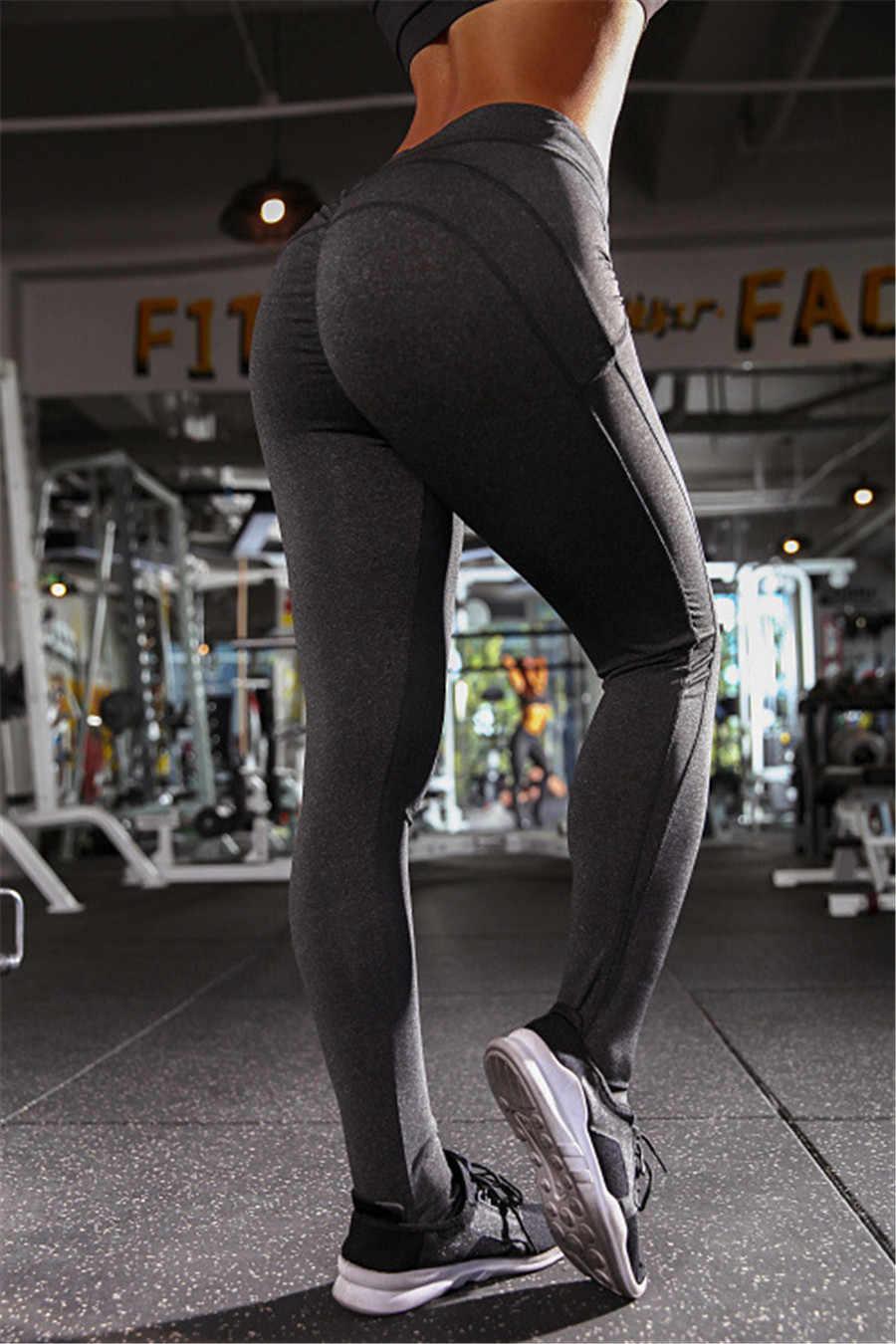 131495eadbb86 ... YICN Yoga Pants Sport Leggings Women Sport Fitness high waist V Shape  Legging Push Up Leggings