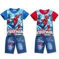 Conjunto meninos dos desenhos animados spiderman crianças roupa criança crianças jeans shorts conjunto de roupa