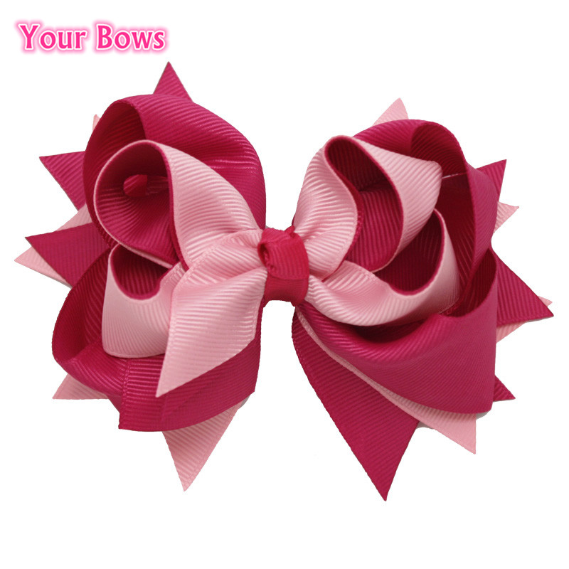 Free Shipping $1/1PCS Baby Girls Boutique Bows 3 Layer Solid Pink Over Pinks Ribbon Toddler Bows With 6cm Clips Hair Accessories