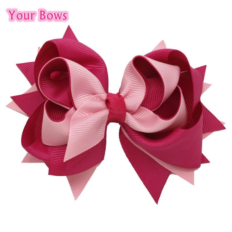 Your Bows 1PCS 5Inches Girls Solid Hair Bows Hair Clips 100% Ribbon Bows Hairpins Children Headwear Fastion Hair Accessories