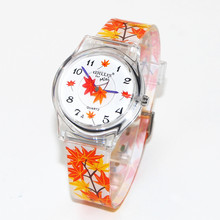 New Orange Leaves Pattern Design Children Women Analog Quartz Wrist Waterproof Watch Student Dress Quartz Watches Clock Reloj